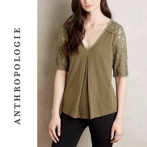 Anthro Meadow Rue brushed lace half sleeve Top